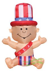5 1/2and039 Air Blown Self-inflatable Lighted Patriotic U.s.a New Yearand039s Baby