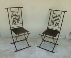 Unusual Vintage Chinoiserie Ming Style Folding Iron Campaign Chairs W Tall Backs