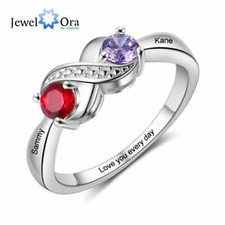 Personalized Women Rings Wedding Engagement Jewelry Engrave Names Birthstones $12.99