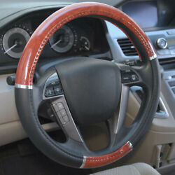 Wood Grain Steering Wheel Cover For Auto Car Suv Lux Grip Black Syn Leather Rx