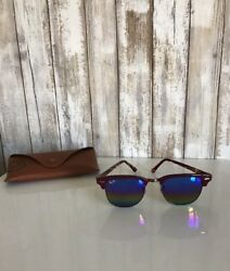 Ray Ban Clubmaster Sunglasses RB3016 1222 Bordeaux Burgundy Rainbow Mirror RARE $119.99