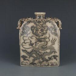 9 Chinese Old Fine Antique Porcelain Yuan Red Dragon Pattern Double Ear Vase