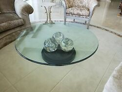 Incredible Vintage Cracked Ice Lucite 3 Ball Cocktail Table On Lacquer Base