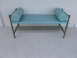 Wonderful Large Ilana Goor Hand Stitched Leather And Hand Forged Iron Bench - P