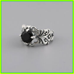 Rings Women 100%Real S925 Solid SilverHeartBlack Zircon Jewelry Adjustable