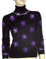 Luxe Oh` Dor 100% Cashmere Sweater Luxus Snowflakes Black Purple 42144 512ft