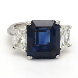 Estate 11.29ct Sapphire and 1.98ctw Diamond Three-Stone Platinum Ring- Sz. 4.5