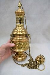 + Nice Older Antique Traditional Cathedral Size Censer + Thurible + Cu924