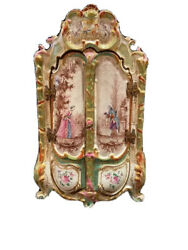Antique Marseille French Faience Miniature Armoire Or Jewelry Casket Honoré Savy