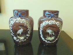 Antique 19th C Enamel Painted Crackle Glass Vases Decorated With Herons