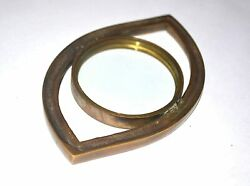 Brass Magnifying Glass Paper Weight Eye Shape Hd Dome Genuine And Reading