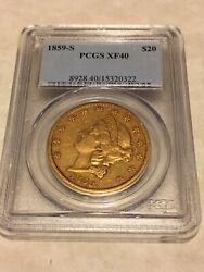 1859-s Xf40 Pcgs Liberty Double Eagle Type 1 20 Gold Coin Very Nice Details