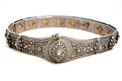 Antique Imperial Russian Caucasian Solid Silver 84 And Niello Folk Belt