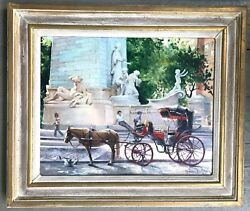 Impressionist Nyc Columbus Circle Central Park Monument /figures Andhorse Carriage