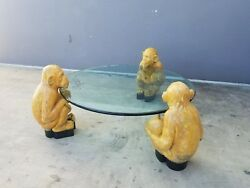 70's Italian 3 Hand Carved Wood Monkeys Holding A Circular Glass Coffee Table P
