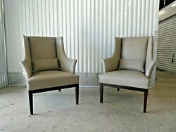 Pair Of High End Post Modern English George Smith Leather Wing Chairs