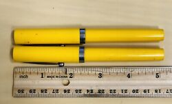 Sheaffer Lot Of 2andnbsp Vintage No-nonsense Yellow Pens Ball Point And Fountain Pen