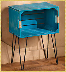 Blue Rustic Wooden Crate Bed Sofa End Side Accent Table Farmhouse Country Decor