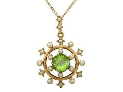 Antique 1.92 Ct Peridot And Seed Pearl 15k Yellow Gold Pendant Circa 1900
