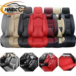 12pc Interior Pu Leather Car Seat Cover Protector Waterproof Universal 5-seat Us