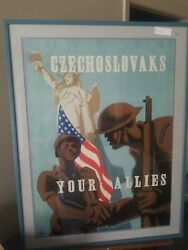 Wwi And Wwii Original War Posters Czechoslovaks Your Allies By Antonin Pelc 1943andnbsp