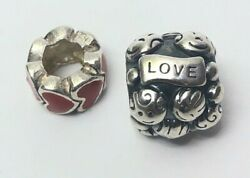 Pandora Bracelet 2 Charms Family Love Red Heart Sterling Silver Ale 925 Fake