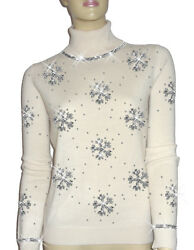 Luxe Oh` Dor 100% Cashmere Sweater Luxury Snowflakes Pearl White Silver 46