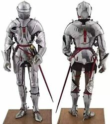 Knight Suit Of Armor Medieval Body Armour Halloween Costume Silver