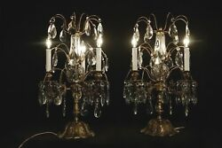 Pair Of French Antique Style Girandole Chandelier Table Lamps Bronce Crystal