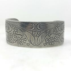 Vintage Salisbury May Pewter Cuff Bracelet Etched Lily Of The Valley Flower