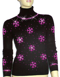 Luxe Oh` Dor 100% Cashmere Sweater Luxury Snowflakes Black Pink 42144 512ft