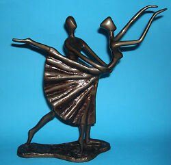Modernist Expression Of Movement - Bronze Colour Unsure Of Metal Dancing Pair.