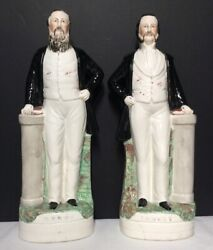 Pair Of 17andrdquo Staffordshire Figures -evangelicals Sankey And Moody