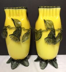 Pair Of Yellow And Green Victorian Art Glass Vases