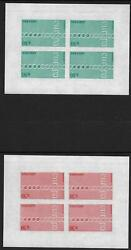 French Andorra Stamps 1971 Yv 212-213 Imperforated Blocs Of 4 Mnh Vf Ue