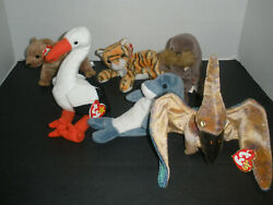 Vintage Lot Of 11, Beanie Babies Stuffed Toys - Mixed Lot. Free Shipping