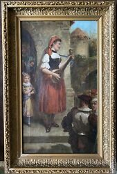 Antique English Oil Painting On Canvas Of Woman Minstrel Artist John Michie 19 C