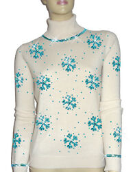 Luxe Oh` Dor 100% Cashmere Sweater Luxury Snowflakes Pearl White Turquoise