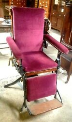 1860's Cast Iron Swivel / Reclining Chair, General / Country Store, Barber Shop