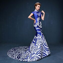 Evening Prom Dresses Fishtail Party Ball Gowns Print Floral Womens Party Dress C