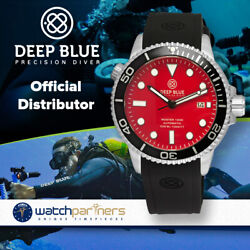 Deep Blue Master 1000 Automatic Watch Black Silicon Strap And Bezel Red Dial