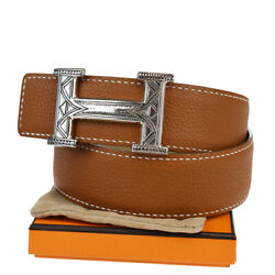 Auth Hermes Touareg Buckle Belt Reversible Leather Silver 925 70 Brown 92mb058