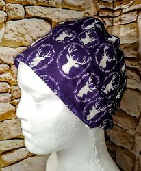 ScrubChemo Cap 'Purple with White Deer Heads' New One Size FREE ship $13.50