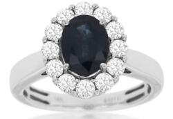 2.22ct Diamond And Aaa Sapphire 14kt White Gold 3d Oval And Round Flower Love Ring
