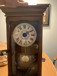 Eight Day Spring Wound Pendulum Clock For Parts Or Repair