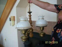 Colonial Wooden And Metal Vintage 3 Light Hanging Chandelier White Ruffled Globes