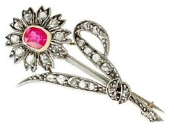 Antique 0.61 Ct Ruby And 0.72 Ct Diamond 9k Yellow Gold And Silver Set Brooch