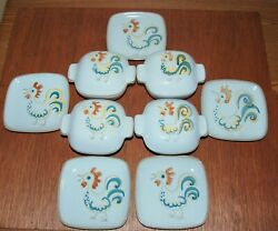 Glidden Menagerie Rooster Lot 4 Mini Casserole Dishes Lids And Plates 167