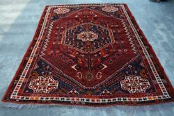 F2360 Antique Handmade Tribal Shirazi Area Home Wool Pictorial Rug 5and0399 X 8 Feet