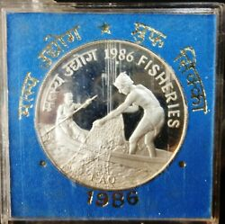 India Republic 1986-b 100 Rupees Fisheries Proof Coin Set F A O Series Km 28
